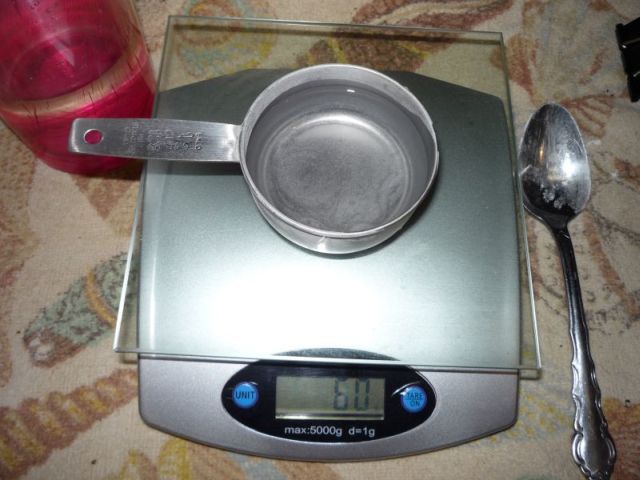 Weighing 60 grams of water.