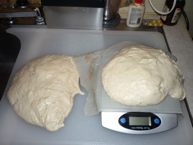 Dough divided in two parts.