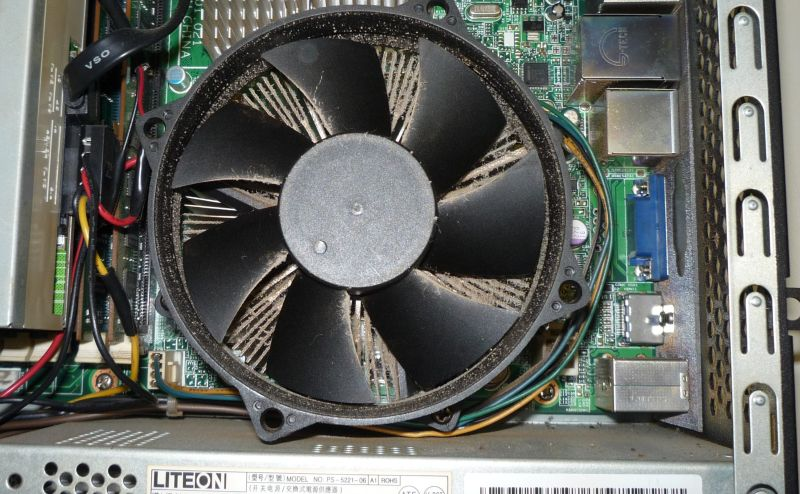 a dust-loaded radial heat-sink and fan