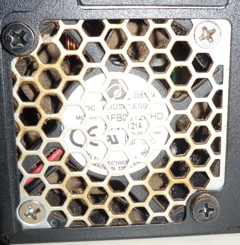 power supply fan loaded with dust