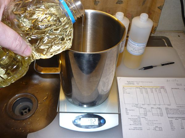 Weighing the oils