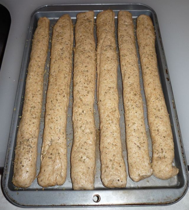 Dough strips in cookie sheet