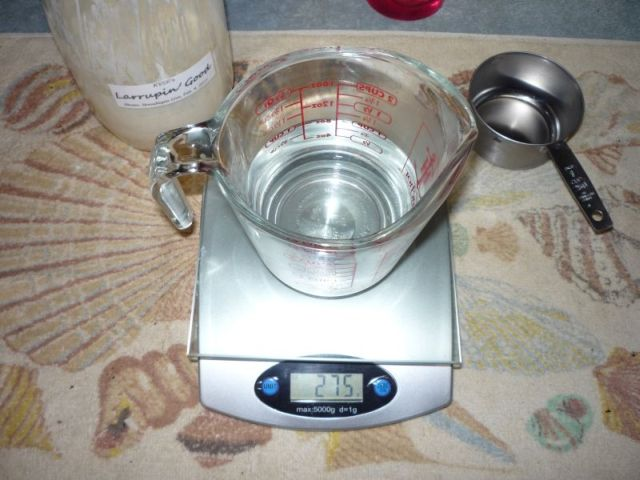 Weighing water in cup.