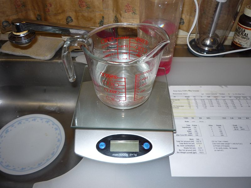 water in measuring cup on scale